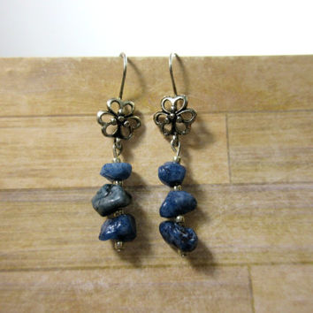 Lapis Lazuli Earrings, Flower Earrings, Rustic Stone Earrings, Blue Stone Earrings, Stone chip earrings, Healing Gemstone