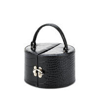 Faux Leather Side Opening Jewely Case