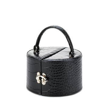 The Perfect Traveling Jewelry Case-in black snakeskin