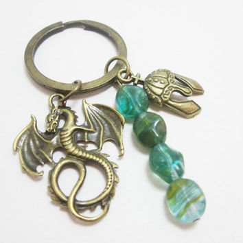Fantasy Dragon and Helmet Keychain with River Pebble Czech Glass Beads Medieval