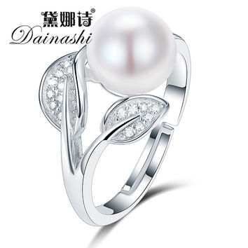 [Dainashi Fine Pearl Rings For Women 100% Real Pearl With 925 Sterling Silver Jewelry For Girlfriend Wife Mother Sister Gift Box