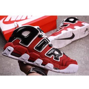 Tagre™ Supreme x Nike Air More Uptempo Big R Scottie Pippen White/Red Sport Basketball Shoes