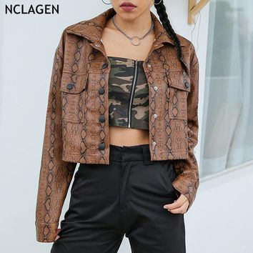 NCLAGEN 2018 Women Autumn Snake Skin Printed Basic Coat Long Sleeve Leather Jacket Outerwear Casual Streetwear Pockets Coats