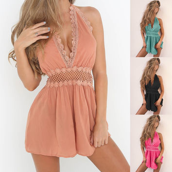 Fashion Halter Sleeveless Deep V Backless Hollow Lace Stitching Romper Jumpsuit Shorts