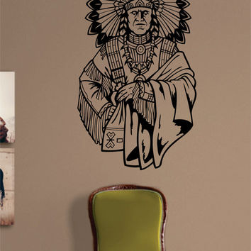 Indian Chief Version 3 Native American Decal Sticker Wall Vinyl Decor Art