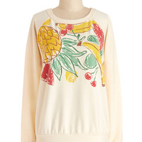 ModCloth Fruits Long Sleeve Sweatshirt Smoothies at Sunset Sweatshirt