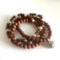 Wood & Pearls Mala Yoga Prayer Bracelet