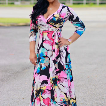 Floral Print Long Sleeve Wrap Maxi Dress