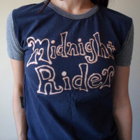 Midnight Rider Navy Blue Heather Grey Bleach Upcycled T-shirt