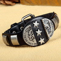 Rock Punk Style Black Leather with Star Rivet Women Leather Cuff Bracelet, Men Bangle Cuff  X10-BL