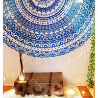 Lotus Mandala Roundie  Wall hanging - Ethnic Beach throw - Home Decor