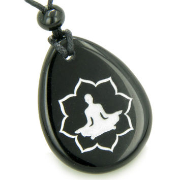 Lucky Kwan Yin Quan Lotus Amulet Black Agate Wish Stone Pendant Necklace
