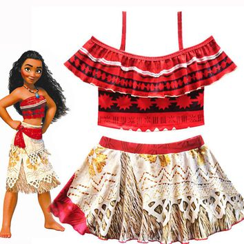 Baby Girls Swimwear Cartoon Moana Bikinis Set Beachwear Swim Top Skirt Sets Kids Beach Clothes for age 3-10 years old