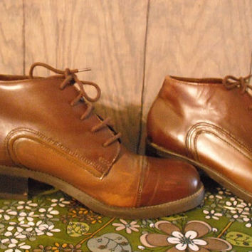 vintage two tone BROWN Oxford high top bootlets lace ups size womens 6 Borrelli