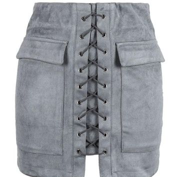 DCCKN6V Grey Faux Suede Lace Up Front Pencil Mini Skirt