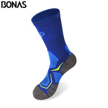 Bonas 6 Ppir/Pack Quick Dry Socks Short Breathable CoolMax Polyester Fabric Socks Men Autumn Multicolor Thermal Male Short Socks