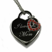 I Love You Mom Heart Tag Pendant with 18 Inches Chain