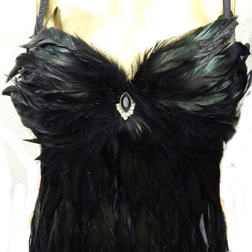 5fb43e6439a Gothic Raven Feather Corset Las Vegas Burlesque Custom Made 4 U