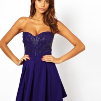 Lipsy Embellished Bandeau Skater Dress
