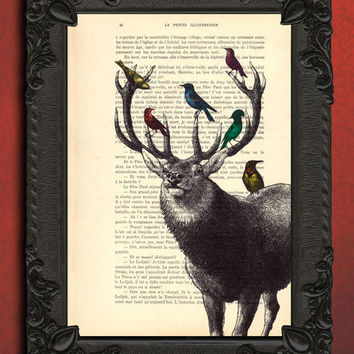 Deer with birds, deer head surrounded by birds art print, stag decor and housewares, bird home and living, animal wall decor