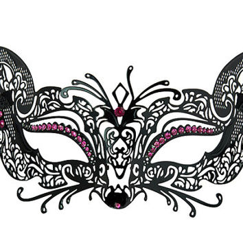 Seductive and Sexy Cat Woman Metal Masquerade Venetian Mask with Diamonds - Pink