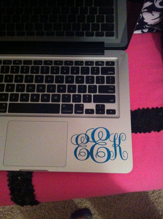 Personalized monogram macbook vinyl decal from owloutfitters on