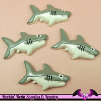 4 pcs SHARKS Decoden Flatback Kawaii Resin Cabochons 34x18mm
