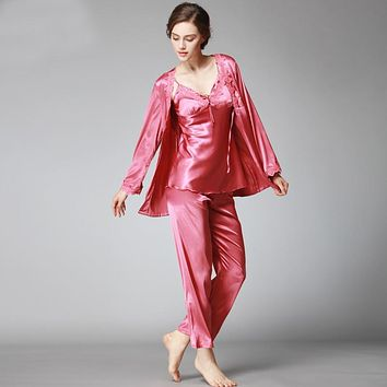 SSH036 Lady Silk Satin Pajama Women Sexy 3 Pieces Pajama Set Sleepwear V-neck Top Full Sleeves Full Length Pant Nightgown Autumn