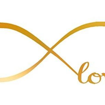 GOLD (CHROME MIRROR) 7'' X 22'' Wall Stickers, Franterd Bedroom Decor Infinity Symbol Word Love Vinyl Art Decal