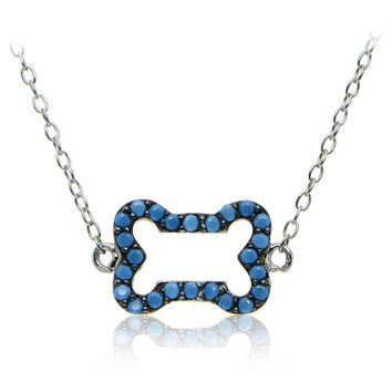 Sterling Silver Nano Simulated Turquoise Dog Bone Necklace