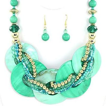 Captiva Colored Shell Necklace Set in Teal Turquoise