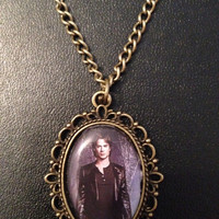 The Vampire Diaries Themed Bronze Pendant Charm Necklace Dome Frame Stefan Damon Elena