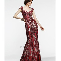 (PRE-ORDER) Faviana 2014 Prom Dresses - Red Sequin & Mesh Cap Sleeve Prom Gown