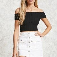 Buttoned Denim Mini Skirt