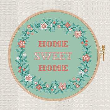 Home sweet home cross stitch pattern pdf flowers wreath cross stitch modern Round cross stitch Easy Counted Chart diy project gift
