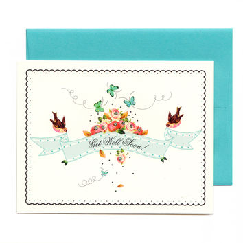 Get Well Soon Floral Birds Banner Card