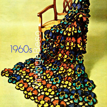 Pansy Flower Afghan Crochet Pattern is a Vintage 1960s blanket bohemian decor or flower power hippie home decor-Pdf Pattern-INSTANT Download