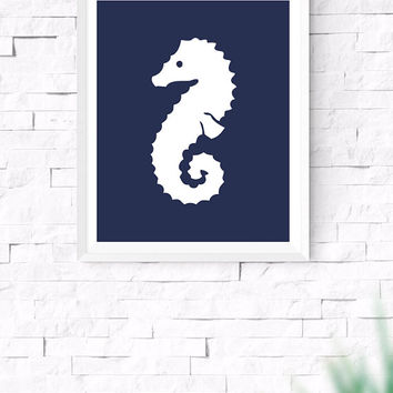 Navy Blue Sea Horse Printable, Sea Wall Art, Nautical Wall Art, Beach House Decor, Nursery Wall Art, Gallery Prints, 8x10, 24x30 Inches