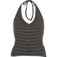 River Island Womens Black stripe halter neck crop top