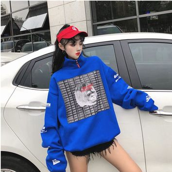Harajuku Animal Printed Oversize Long Hoodie Sweatshirt Women Fall 2018 Korean Fashion Oversized Sweatshirts Tops Tumblr