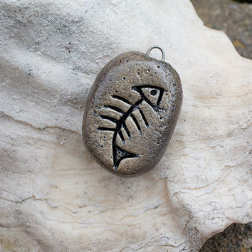 Rustic style fossil rock fish bone pendant charm
