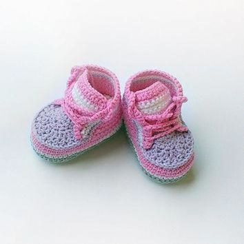 VONR3I Pink crochet baby sneakers, Pink crochet baby shoes, Pink converse shoes, Toddler croc