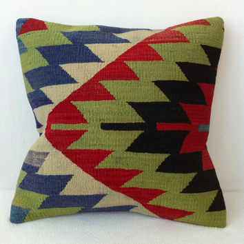 Modern Geometric Green Red Handwoven Turkish Wool Kilim Pillow Cover, Decorative Kilim Throw Pillow, Bohemian Home Decor Pillow 16 inch