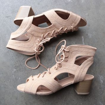 lace-up sandals in toffee