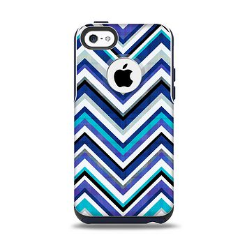 The Vibrant Blue Sharp Chevron Apple iPhone 5c Otterbox Commuter Case Skin Set