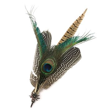 Deluxe German themed Hat Pins with Peacock Feathers