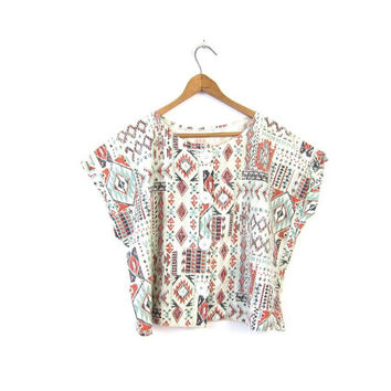 TRIBAL Print Cropped Top 80s Cotton Boho Shirt Button Up TShirt Loose Fit Cap Sleeve Blouse Southwestern Hipster Hipster Tee Vintage Large