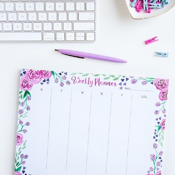 Pink Floral Weekly Planner Notepad