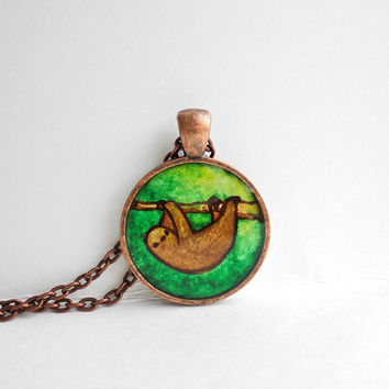 Sloth on Branch - watercolor pendant, original art necklace, hand painted