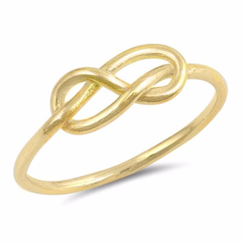 Sterling Silver Gold-Tone Plated Infinity & Beyond Knot Ring 5MM